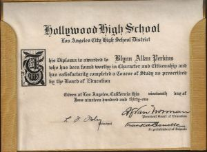 Blynn Allan Perkins diploma closeup