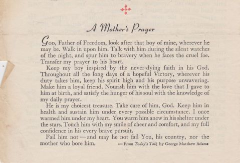 Mother's Prayer found in New Testament