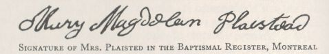 Signature of Mary Rishworth Sayward Plaisted upon baptism during captivity from Banks' History of York