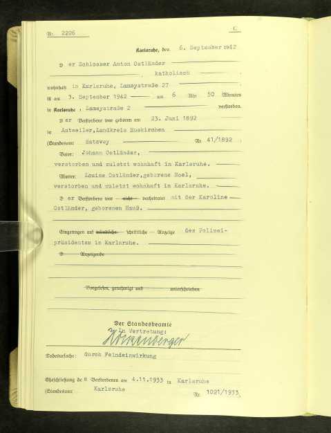 Death of Anton Ostlander certificate